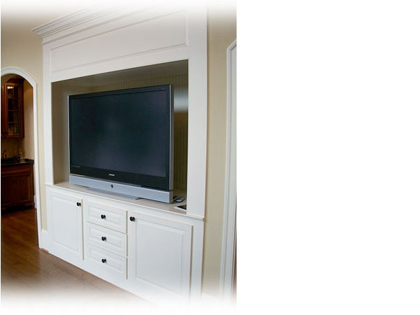Built-in Bookcase and entertainment Center constructed by Dave Thorley Construction